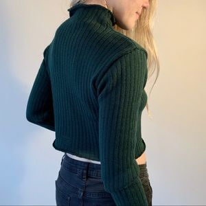 Teal/Green Cropped Mock Neck Sweater